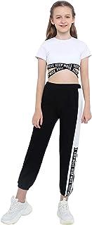 ملابس Nimiya للأطفال للبنات قطعتين للرقص الجمباز الرياضية ملابس قصيرة مع سروال ضيق رياضي طقم بدلة رياضية أبيض بأكمام قصيرة 12
