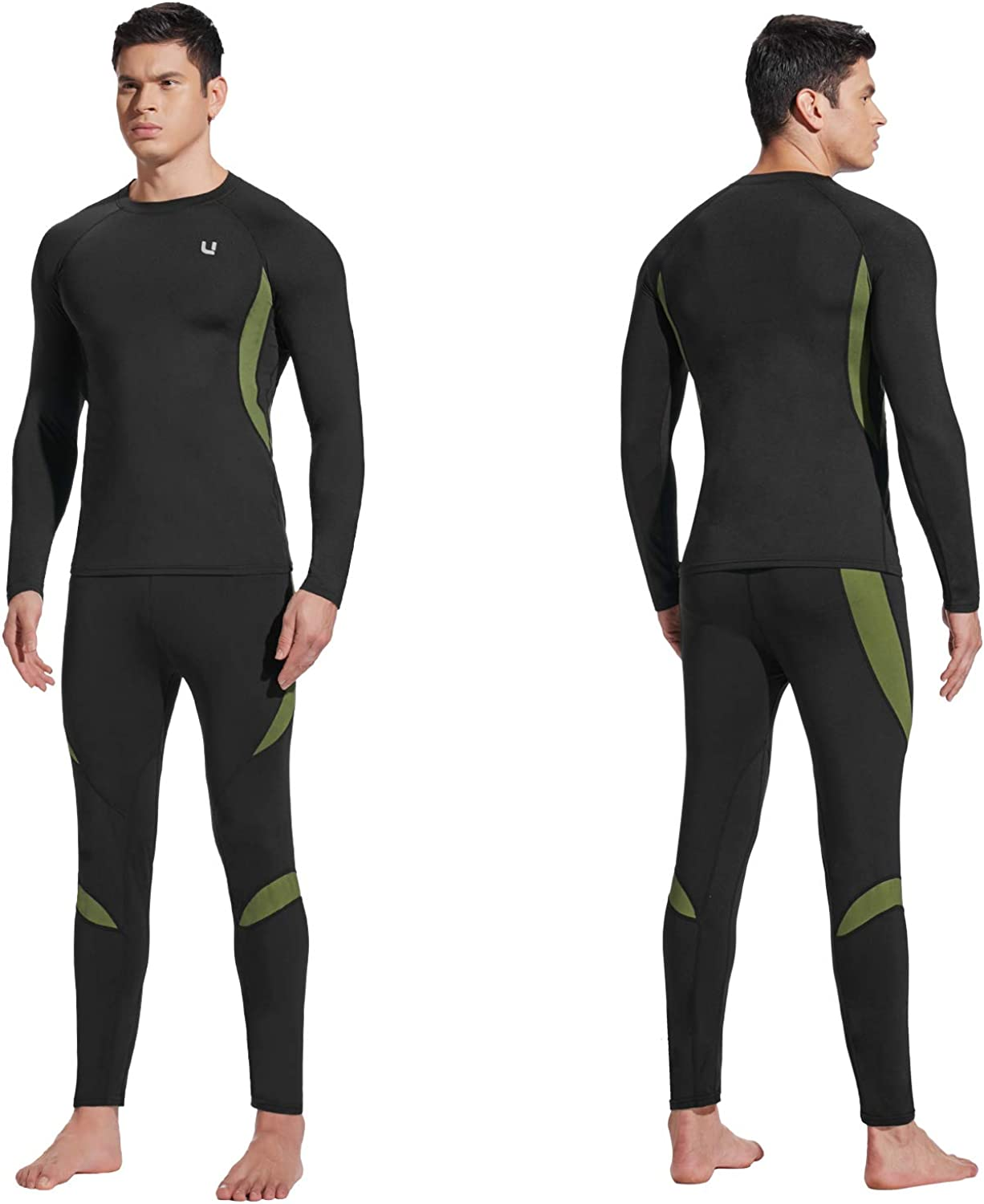 UNIQUEBELLA Men's Thermal Underwear Sets Top & Long Johns Fleece Sweat Quick Drying Thermo Base Layer