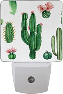 Naanle Set of 2 Watercolor Cactus Succulent White Natural Auto Sensor LED Dusk to Dawn Night Light Plug in Indoor for Adults