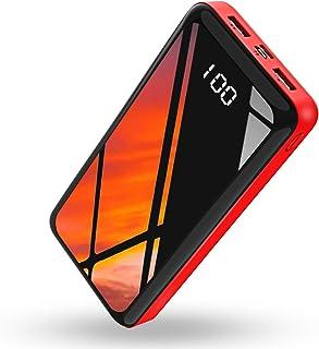 モバイルバッテリー 30000mAh 大容量 急速充電 LCD残量表示 Type-C & Micro USB 2つ入力ポート2USBポート PSE認証済 iPhone & Android 各種対応 (黒と赤)