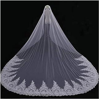 Women Bridal Veil Chapel Cathedral Bride Veil Lace Applique Edge Wedding Accessories With Free Comb Front Veil 3M Long 2T ...