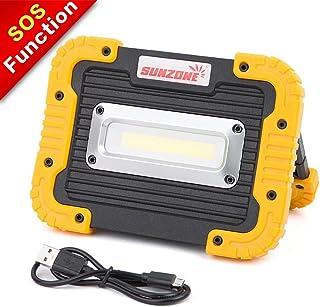 Sunzone foco de 10 vatios con luz COB y LED de 750 lúmenes, batería de litio recargable con puerto USB para exterior, campings o pesca, Amarillo, 6003BY, 10.00watts, 3.70 volts
