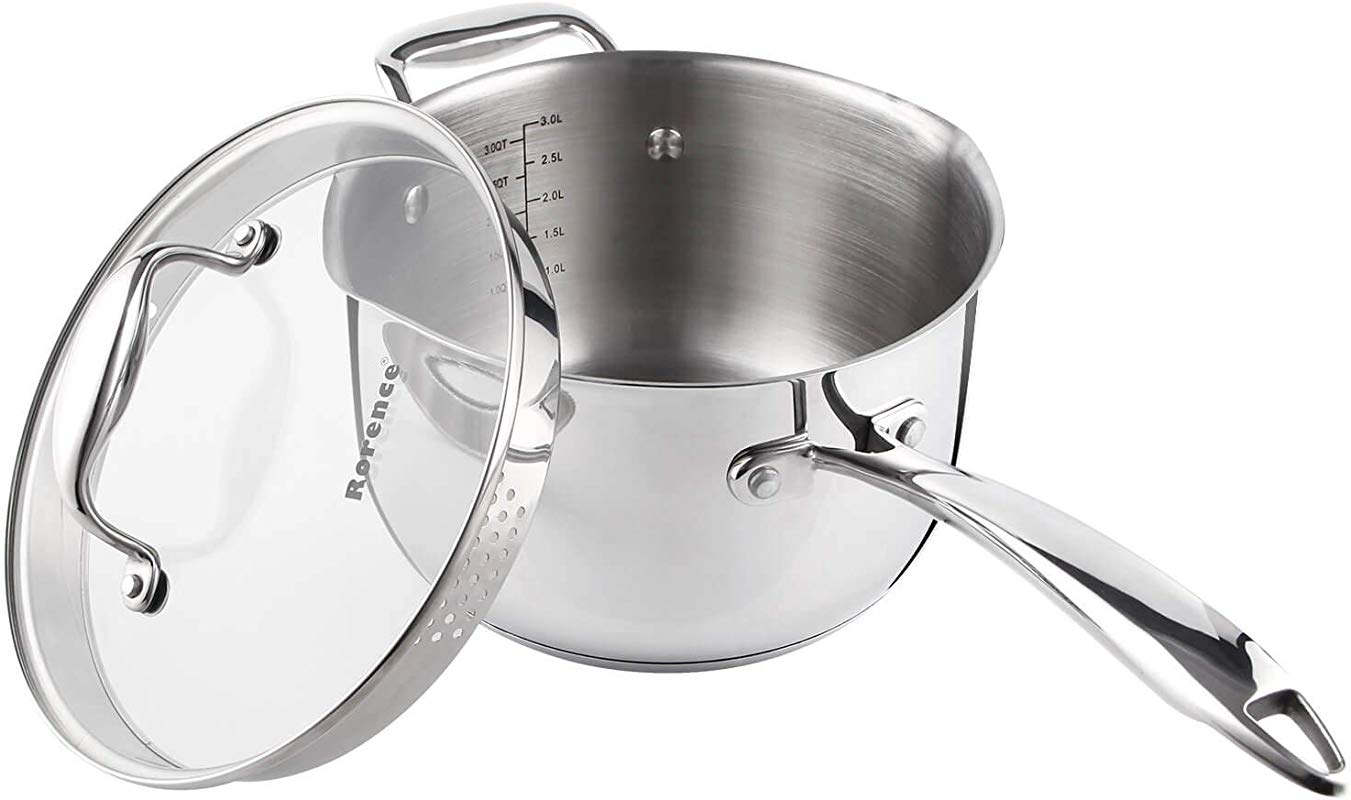 Rorence Stainless Steel Saucepan With Pour Spout Glass Lid With Strainer 3 7 Quart