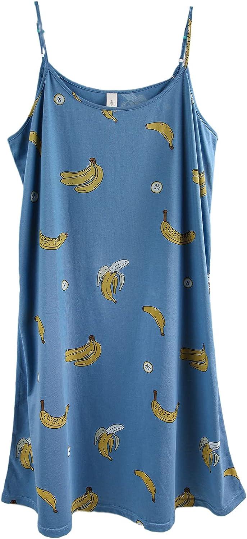 ft Fenteng Women Pajamas Summer Long Dress Fruit Print Cotton Sweet Lovely For Home Sexy Sleepwear