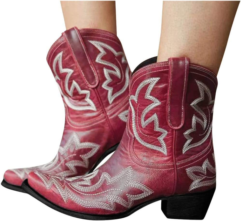 NOLDARES Cowboy Boots for Women Cowgi Embroidered San Diego Mall Classic Cheap mail order shopping Flower