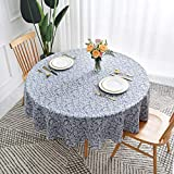 maxmill Round Jacquard Tablecloths Damask Design Spillproof Wrinkle Free Heavy Weight Soft Table Cloth for Circular Table Cover of Buffet Banquet Parties Holiday Dinner Round 90 Inch Stone Blue
