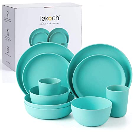 Lekoch Bamboo Dinnerware Set,Eco-friendly Bamboo Fiber Dinnerware 10-Piece,Tableware Set for Blue Christmas,Party,BBQ,Gift,Wedding,Camping(Dinner & Salad Plate Cup Large & Small Bowl) (2 Guest (Navy))
