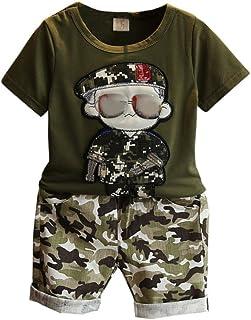 e5c4b7aae2959 Bébé Garçon Camouflage Survêtement 2 Pièces Cool Sport Été Vêtements  Ensemble T-shirt Haut et