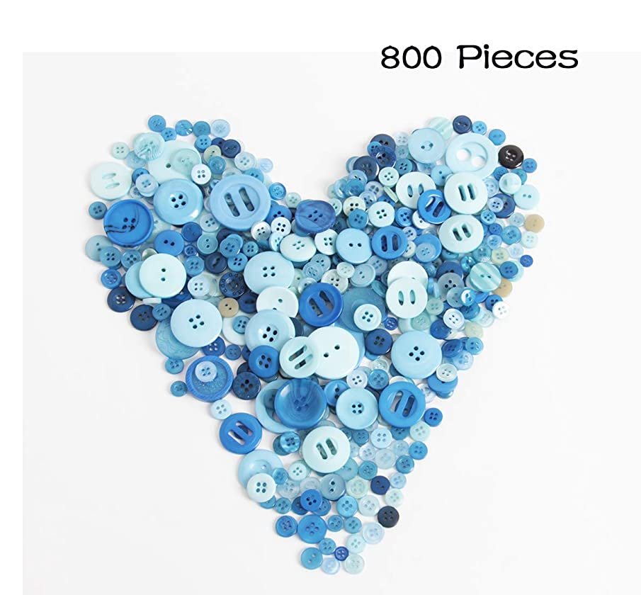 Hapy Shop 800 Pieces Mixed Sizes Navy Blue Resin Buttons Craft Buttons 2 and 4 Holes Round for DIY Crafts,Sewing, Decoration - Sizes Range from 0.28 to 1.18 inch