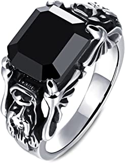 Men's Vintage Stainless Steel Embossed Dragon Head Claw Crystal Ring Band Gothic Biker Silver Black