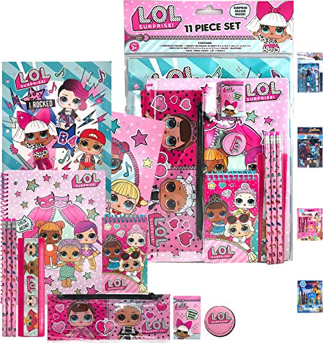 Diva Surprise Giant Stationery Gifts Set for Kids Girls - Pencils, Pencil Pouches, Notebook, Folders, Pad, Eraser, Sharpener, Ruler, Back to The Pre School Kindergarten Education Goodies Supplies