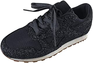 ✦◆HebeTop✦◆ Womens Wedge Platform Fashion Sneaker Glitter Metallic Lace up Sparkle Slip On Street Casual Running Shoes