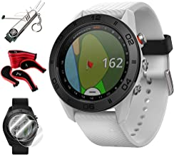 Garmin Approach S60 Golf Watch White w/White Band + Screen Protector (2-Pack) + 7-in-1 Multi-Function Golf Tool + Neoprene Zippered Headcover for Golf Club Iron Head Covers Set + Extended Warranty