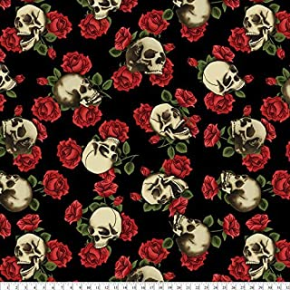 Skulls & Roses Black Fleece Fabric by The Yard