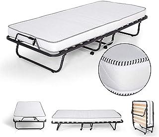 ZXF - Colchón plegable (90 x 200 cm, madera), diseño ortopédico con ruedas, incluye colchón, 11 cm, espuma de agua
