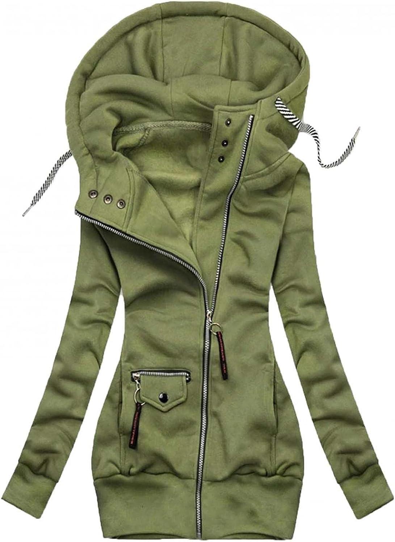 ManxiVoo Women Zipper Hoodie Long Sleeve Full Zip Hooded Sweatshirts Plus Size Pockets Jacket Coat Outwear