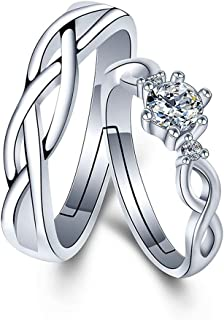CHuir Matching Couple Rings, Adjustable 925 Sterling Silver Bamboo Wedding Promise Ring Set for Him and Her