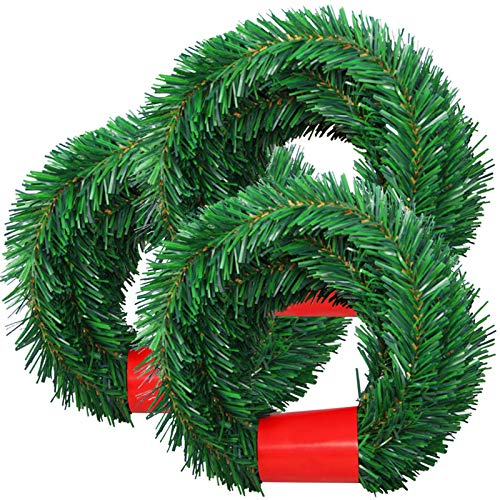SINGARE 50 Feet Christmas Garland, 3 Strands Artificial Pine Garland Soft Greenery Garland, Suitable for Christmas Decorations, Green Non-Lit Soft Holiday Decor for Outdoor or Indoor