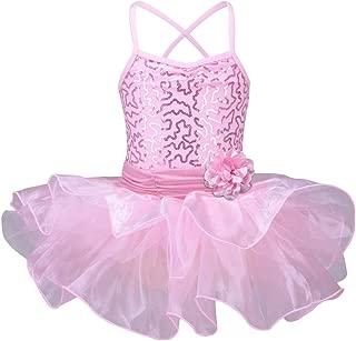 Little Girls' Sequin Ballet Tutu Dress Kids Flower Strap Athletic Leotard 2-8 Years