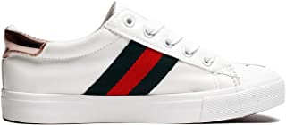 Susan 18 Stripe Glitter and Metallic Star Lace-Up Fashion Sneakers for Women (Order One Size Up) White Size: 10