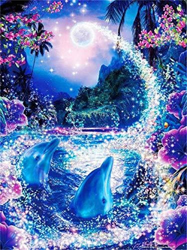 DIY Diamant Painting Bilder Voll Kits für Erwachsene Kinder Blue Dolphin 5D Diamond Painting Full Set Kristall Strass Stickerei Kreuzstich für Home Wall Decor -Round Drill,19.6x27.5inch/50x70cm