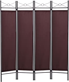 Tobbi 4 Panel Folding Room Divider Portable Privacy Screen Home Office Fabric Metal Frame Brown