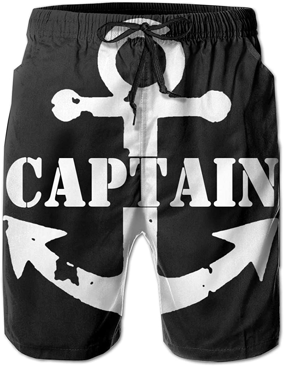 Captain with A Boat Anchor 3D Print Men's Beach Shorts Quick Dry Swim Trunks Workout Shorts Summer Shorts
