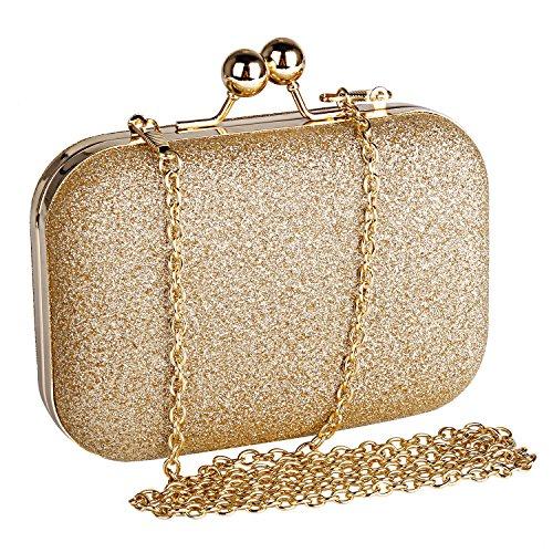 Beautyshow Clutch Glitzer, Damen Abendtasche Gold Clutch Elegante Handtasche Kette Umhängetasche für Braut Hochzeit Party Abschlussball, Halten Telefon bis zu 5,1 Zoll