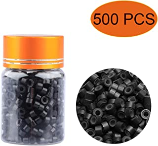 500 PCS Silicone Lined Micro Rings, 5mm Micro Link Beads Tip Stick Glue for Hair Extension, Black