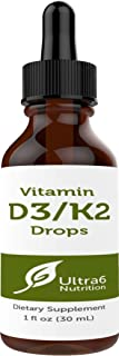 Vitamin D3 Drops with Vitamin K2 in Liquid for Best Absorption - Vitamin D Drops for Adults, Children, Kids and Infants. Liquid Vitamin D with K2 and Gluten Free. Top Seller in Liquid Vitamins