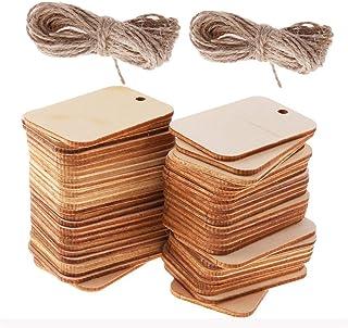 SIMUER - 100 etiquetas de madera decorativas para manualidades, en forma rectangular, de madera, con cuerda decorativa