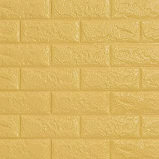 Self adhesive 3D three-dimensional wall paste waterproof, moisture-proof and mildew proof living room bedroom TV background wall decoration wallpaper (Yellow)