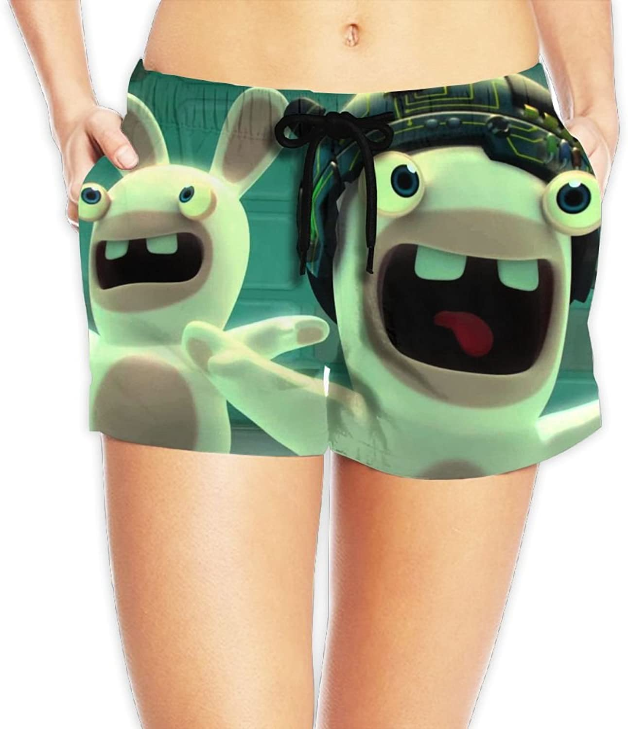 Rabbids Invasion Board Shorts Hot Trousers With Pockets For Womans White