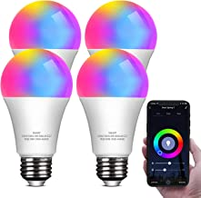Smart LED Light Bulb Work with Alexa and Google Home A19 E26 9W 806lm Multicolor 2.4 GHz WiFi Dimmable Lights Bulbs Equiva...