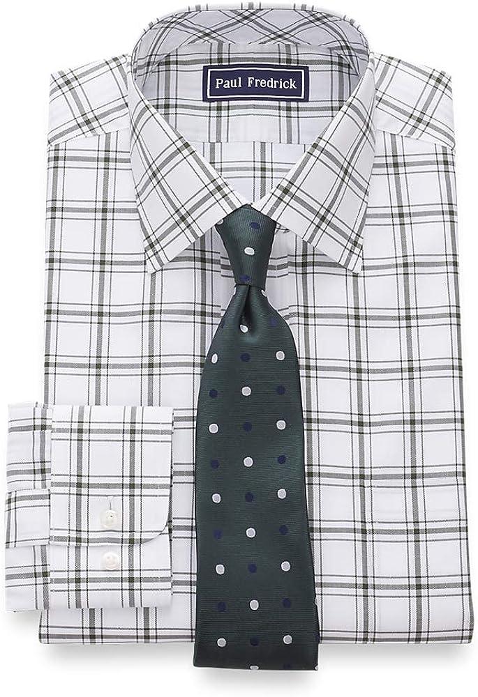 Paul Fredrick Men's Slim Fit Pure Cotton Windowpane Dress Shirt