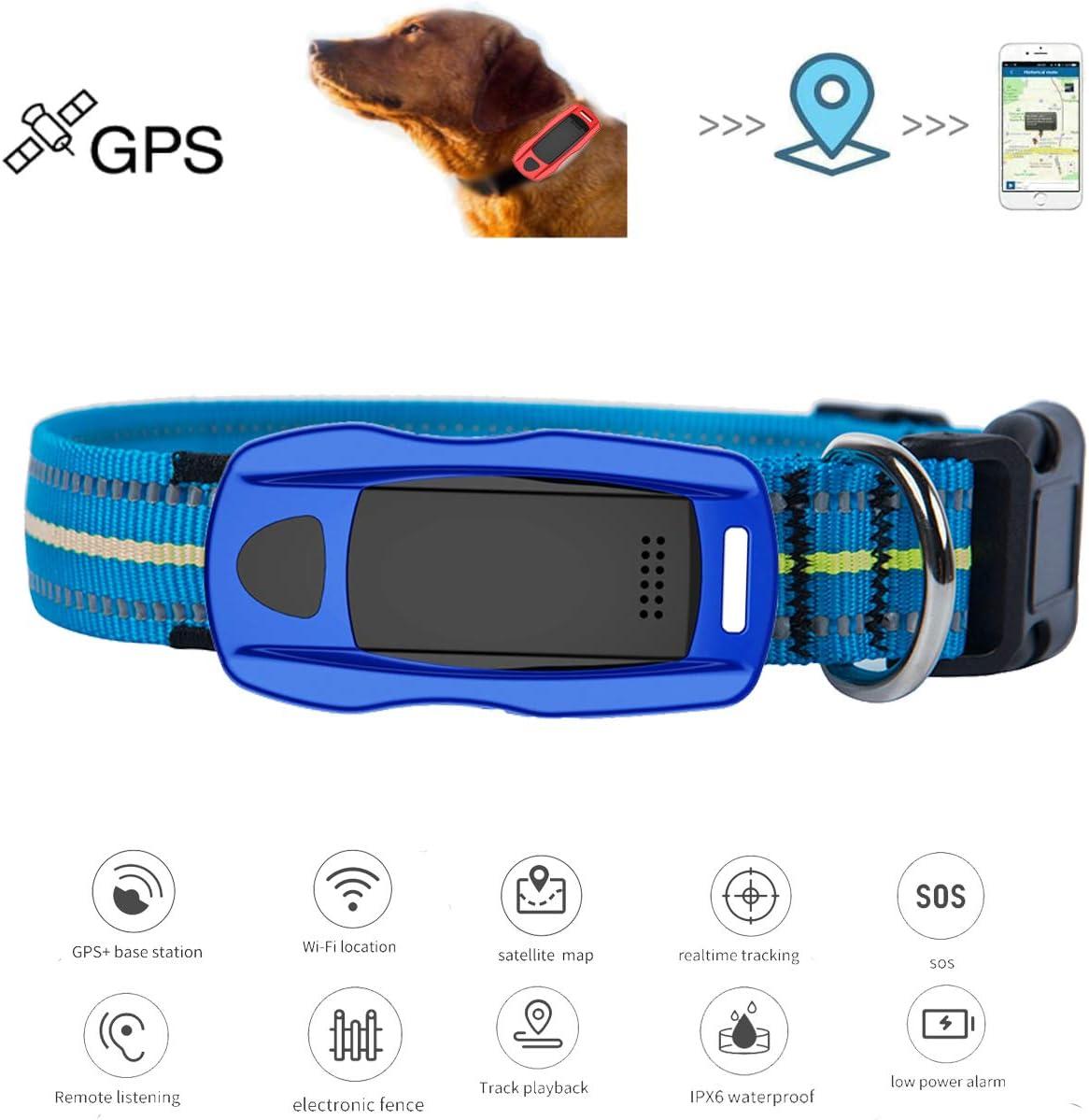 Zeerkeer Localizador de Mascotas, GPS + LBS + WiFi Posicionamiento SOS Cerco Electrónico Localizador de Monitoreo Remoto con App, para Mascotas/Ancianos/Niños (Azul)