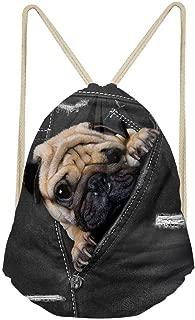 Pug Dog Drawstring Daypack Teenager Boys Basketball Tennis Gymsack