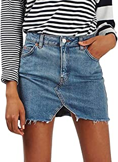 Jean Skirt for Womens Ladies Distressed Skirt High Waist Ripped Denim Bodycon Pencil