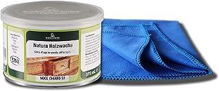 Möbelwachs farblos und geruchlos zur Holzschutz und Möbelpflege 375 ml mit Möbel-Poliertuch bee wax NATURAQUA Holzwachs Wachs BORMA Holzschutzwachs transparent