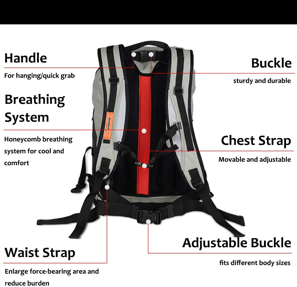 chusecure Waterproof Dry Bag Backpack 30L Lightweight TPU Floating Dry Sack for Kayaking Fishing Camping Boating Hiking Men Women with Padded Straps Breathing System Reflective Stripes