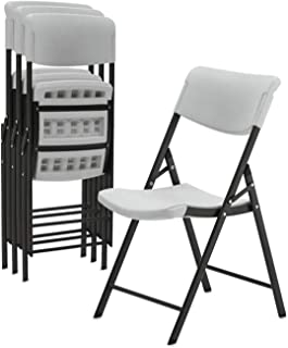 Superday Plastic Folding Chair Classic Commercial Grade Folding Party Chair with Molded Seat (Pack of 4)