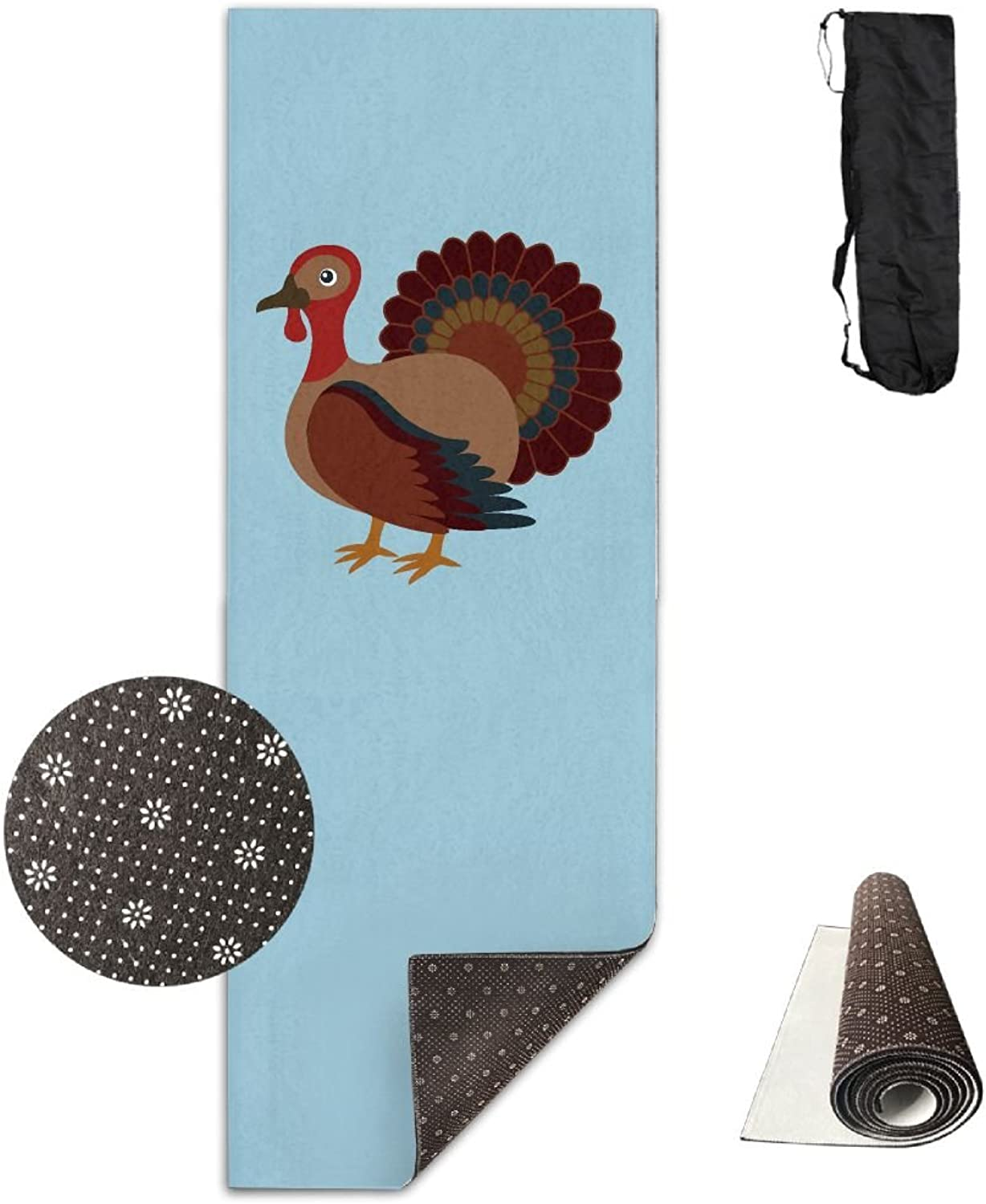 ZSQZSQ Unisex Non Slip Comfort Washable Thanksgiving Day Turkey blueee Yoga Mat,Pilates & Fitness Exercise Mats with Carrying Strap,Thick High Density Mat,for Yoga,Pilates,Exercise and Workouts