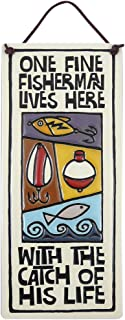 One Fine Fisherman Lives Here with the Catch of His Life - American Made Ceramic Quote Plaque, 8.5