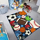 Blue Kids Rug Fun Sport Rugs Nylon Carpet Boys Girls Childrens Rug Balls Print with Soccer Ball, Basketball, Football, Tennis Ball Bedroom Playroom (100x130cm(39''x51''))
