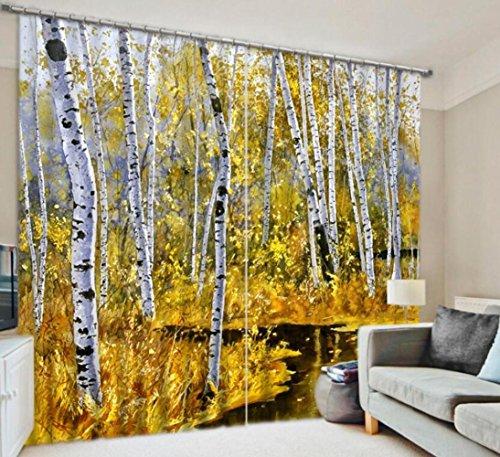 H&M Gardinen Vorhang Herbst weiße Birke EIN Warmer Schatten Tuch dekoriert Schlafzimmerfenster Vorhangstoff fertigen 3D-Druck, Wide 2.64x high 2.13