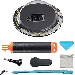 Suptig Onderwaterbehuizing in koepelvorm voor GoPro Hero 6/5, met waterdichte behuizing en drijvende stang, voor duiken, s...