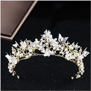 FELICILII Copricapo di Fiori di Farfalla Corona Fascia barocca Corona Accessori da Sposa in Oro Fascia diadema di Cristall...