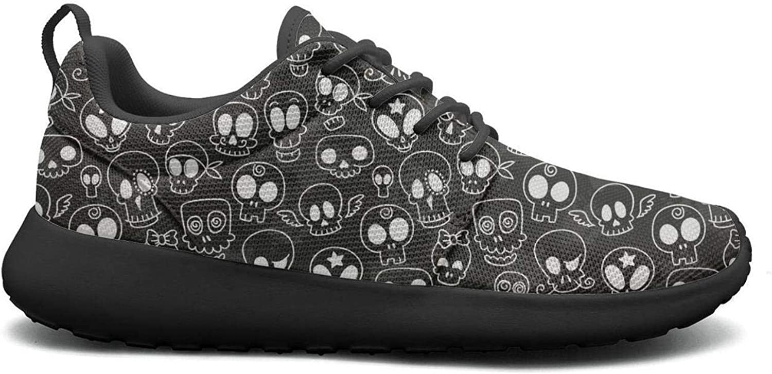Wuixkas Cute Skulls Womens Lightweight Mesh Sneakers Cool Basketball shoes