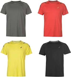Official Brand Asics Icon Running T-Shirt Mens Run Fitness Training Top Tee Black/Red Small