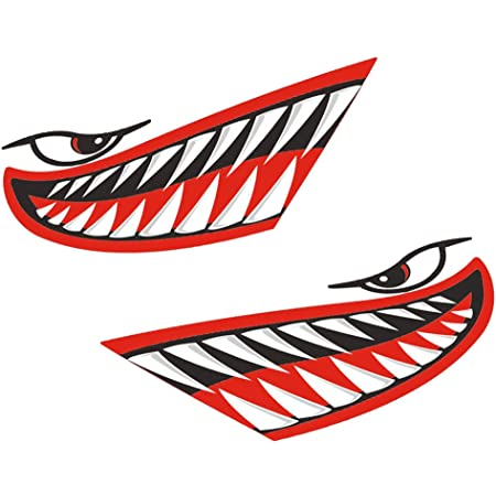 2x Shark Teeth Mouth Eyes Stickers Decals Kayak Boat Car Truck Cool Graphics